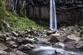 Картинка зелень, вода, камни, скалы, водопад