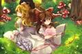 Картинка деревья, цветы, природа, улыбка, девушки, грибы, букет
