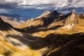 Картинка горный хребет, долина, небо, природа, горы, тучи