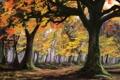 Картинка осень, лес, деревья, арт