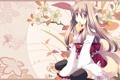 Картинка цветы, кимоно, лисичка, foxgirl