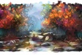 Картинка лес, вода, деревья, река, камни, рыбалка, арт
