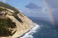 Картинка скалы, радуга, море