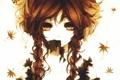 Картинка листья, девушка, аниме, арт, косички, aoshiki