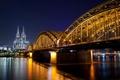 Картинка дорога, ночь, мост, город, река, Германия, освещение