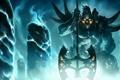 Картинка оружие, монстр, арт, колонны, кристаллы, топор, League of Legends