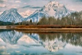 Картинка лес, природа, зима, снег, горы, отражение, озеро