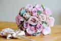 Картинка розы, лук, букет цветов, bow, roses, wedding flowers, свадебные цветы
