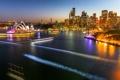Картинка ночь, огни, дома, Австралия, Сидней, трассы, оперный театр