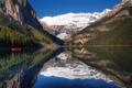 Картинка лес, небо, горы, отражение, лодка, озеро