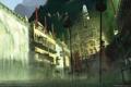 Картинка город, туман, здания, водопад, клетки, дымка, heavenly sword