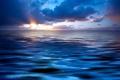 Картинка море, облака, лучи, лазурь, солнечные