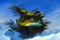 Картинка вода, деревья, горы, люди, фантастика, остров, водопад
