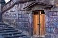Картинка стена, камень, дверь, ступени