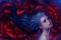 Картинка девушка, волосы, арт, синие, art