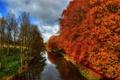 Картинка осень, река, Англия, hdr