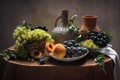 Картинка виноград, кувшин, сливы, натюрморт, персики