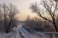 Картинка дорога, снег, утро