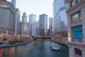 Картинка город, река, здания, дома, небоскребы, Чикаго, Иллиноис