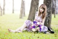 Картинка девушка, цветы, фон, азиатка