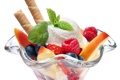 Картинка ягоды, малина, черника, клубника, мороженое, сладости, десерт