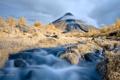 Картинка природа, облака, река, деревья, гора