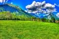 Картинка поле, небо, трава, солнце, облака, деревья, горы