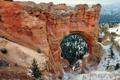 Картинка снег, деревья, пейзаж, горы, скалы, арка, Юта