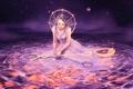 Картинка рыбки, ночь, звёзды, арт, девочка