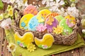 Картинка весна, colorful, печенье, пасха, flowers, sweet, глазурь