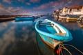 Картинка вода, город, лодка, Франция, дома, Лангедок-Руссильон, Мезе