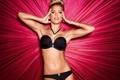 Картинка девушка, модель, белье, черное, блондинка, model, dutch