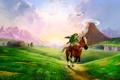 Картинка конь, долина, zelda