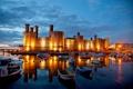 Картинка гавань, небо, Уэльс, ночь, башня, огни, замок