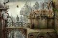 Картинка мост, город, птица, механизм, робот, попугай, Machinarium