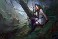 Картинка скалы, девушка, дерево, сидя, глаз, арт, горы