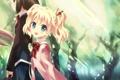 Картинка свет, деревья, девушки, аниме, арт, форма, школьницы