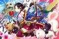 Картинка девушка, птица, собака, меч, сакура, маска, арт