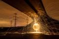 Картинка ночь, мост, феерверг