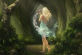 Картинка лес, вода, Девушка, платье, блондинка, кувшин