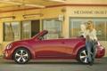 Картинка девушка, красный, фон, окна, заправка, Volkswagen, Жук