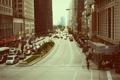 Картинка машины, город, движение, люди, улица, небоскребы, Чикаго