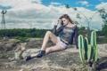 Картинка ноги, шорты, кактус, Taynara S Gargantini