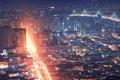 Картинка свет, мост, город, огни, здания, дома, Ночь
