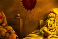 Картинка девушка, ночь, кровь, игрушки, кровать, арт, повязка