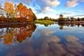 Картинка осень, небо, облака, деревья, озеро, дом, пруд