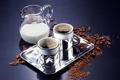 Картинка кофе, зерна, кружки