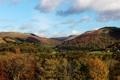 Картинка облака, горы, поля, Великобритания, леса, Llangollen