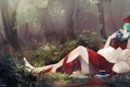 Картинка лес, девушка, деревья, природа, книги, аниме, арт