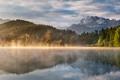 Картинка небо, вода, деревья, горы, природа, озеро, отражение